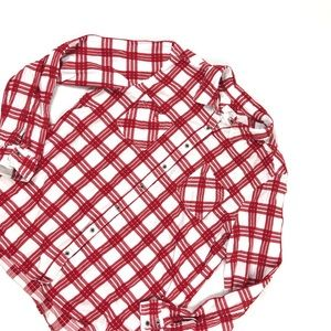 Nordstrom Caslon Red Plaid Spring Button Shirt Top